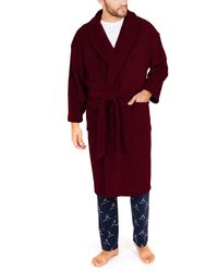 Nautica Long Sleeve Cozy Soft Plush Shawl Collar Robe - Red