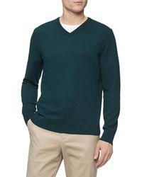 Calvin Klein Merino Sweater V-neck Solid - Green