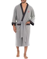 Izod Waffle Knit Kimono Robe - Gray