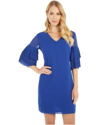 Sam Edelman Pleated Sleeve Shift Dress - Blue