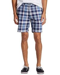 Nautica Classic Fit 100% Cotton Plaid Short - Blue