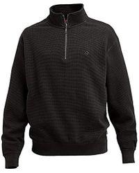 Wolverine Big-tall Denton Beefy Flat Back Waffle Knit Zip Sweatshirt - Black