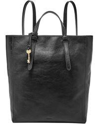 Fossil Camilla Leather Convertible Backpack Handbag - Black