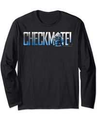 Perry Ellis In Black Check Mate Pawny Portrait Long Sleeve T-shirt - Blue