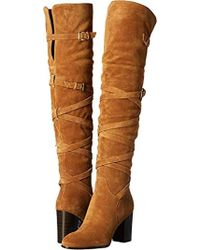 b99202fb82b Lyst - Sam Edelman Sable Strappy Suede Over-the-knee Boots in Brown