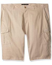 Sean John Tall Size Solid Linen Cargo Shorts - Natural