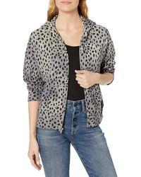 Monrow Cheetah Boxy Zip Up Hoody - Black