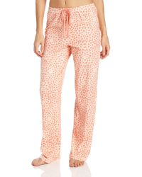 Nautica Sleepwear Floral Brushed Cotton Solid Sleep Pant - Pink