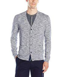 Calvin Klein - Cotton Viscose Slub Mixed Media Cardigan Sweater - Lyst