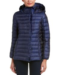 Cole Haan Quilted Iridescent Down Coat With Faux Fur Details - Blue