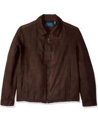 Perry Ellis Tall Faux Suede Shirt Jacket - Brown