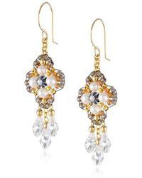 Miguel Ases - Fresh Water Pearl 14k Gold Filled 3-drop Dangle Earrings - Lyst
