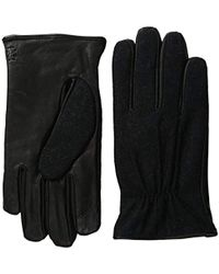 Izod Flannel Gathered Raised Point Leather Glove With Touchscreen Technology - Black
