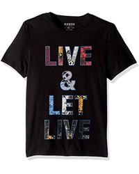 Guess - Short Sleeve Let Live Crew Neck Tee - Lyst