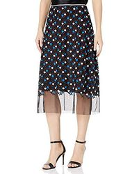 Cynthia Rowley Dot Embroidered Mesh Skirt - Blue