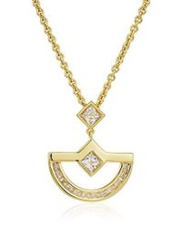 Nicole Miller - New York Crescent Classic Baguette Pendant Necklace - Lyst
