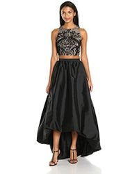 Adrianna Papell - Two Piece Halter Beaded Top With High Low Taffetta Skirt - Lyst
