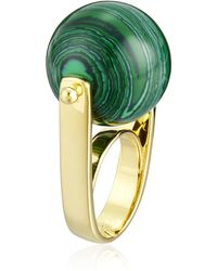 Noir Jewelry Sphere Semi Precious Malachite Rollerball Ring - Metallic