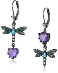 Betsey Johnson Purple/blue Dragonfly Cz Earrings - Multicolor