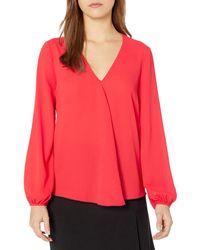 Ellen Tracy Size Front Fold V-neck Blouse - Red
