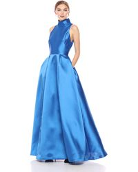 ML Monique Lhuillier Sleeveless Ball Gown With Collar - Blue