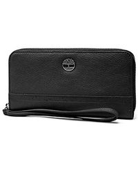 Timberland S Leather Rfid Zip Around Wallet Clutch With Wristlet Strap - Black