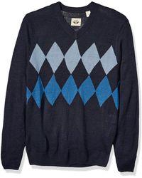Dockers Long Sleeve V-neck Sweater - Blue