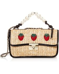 Betsey Johnson Strawberry Fields Pearl Top Handle Shoulder Bag - Natural