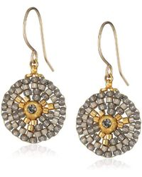 Miguel Ases - Small Round Soft Pewter Drop Earrings - Lyst