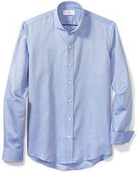 Buttoned Down Slim Fit Supima Cotton Cutaway-collar Dress Casual Shirt - Blue