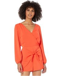 Cupcakes And Cashmere Gideon Soft Satin Romper W/ Wrap Tie Shorts - Red
