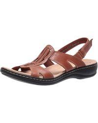 Clarks S Leisa Skip Leather Wedge Sport Sandals - Braun