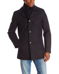 Tommy Hilfiger Wool Melton Walking Coat With Detachable Scarf - Blue