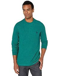 U.S. POLO ASSN. Long Sleeve Crew Neck Solid Thermal Shirt - Green