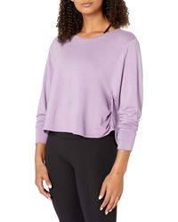 Core 10 Soft French Terry Cropped Long Sleeve Yoga - Purple
