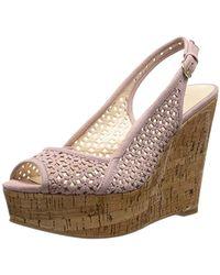 Nine West Axey Suede Wedge Sandal - Pink