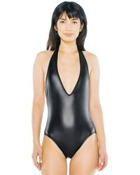 American Apparel Metallic Halter Sunsuit - Black