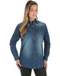 Wrangler Western Fashion Denim Shirts,dark Wash - Blue