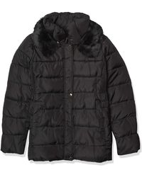 Via Spiga Slimming Puffer Jacket With Side Tabs And Faux Fur - Black