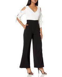 Donna Morgan Long Sleeve Color Block Crepe Jumpsuit - Black