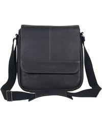 Kenneth Cole Reaction Hattan Messenger Shoulder Bag Colombian Leather Laptop Computer & Tablet Travel Briefcase - Black