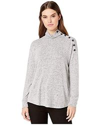 Kensie Plush Touch Turtleneck Sweater Top With Button Shoulder - Gray
