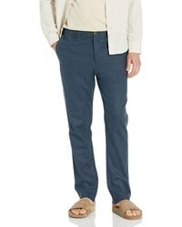 28 Palms Slim-fit Stretch Linen Pant With Drawstring - Blue