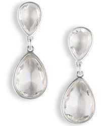 Lucky Brand Crystal Linear Drop Earrings - Metallic