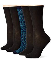 Anne Klein Too Pretty Patterned Crew Socks 5-pack - Blue