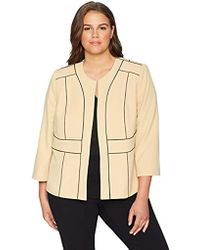 Kasper - Plus Jewel Neck Fly Away Stretch Crepe Jacket With Framing - Lyst