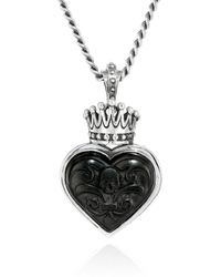 King Baby Studio Carved Jet Heart With Silver Crown Pendant Necklace - Black