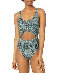 BCBGeneration Standard Wrap Twist Monokini One Piece Swimsuit - Green