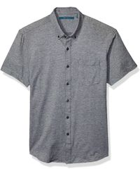 Perry Ellis Solid Knit Oxford Short Sleeve Shirt - Black