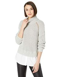 Nicole Miller High Neck Combo Pullover Sweater - Gray